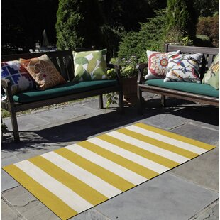 Ranier Stripe Hand-Woven Yellow/Ivory Indoor/Outdoor Area Rug