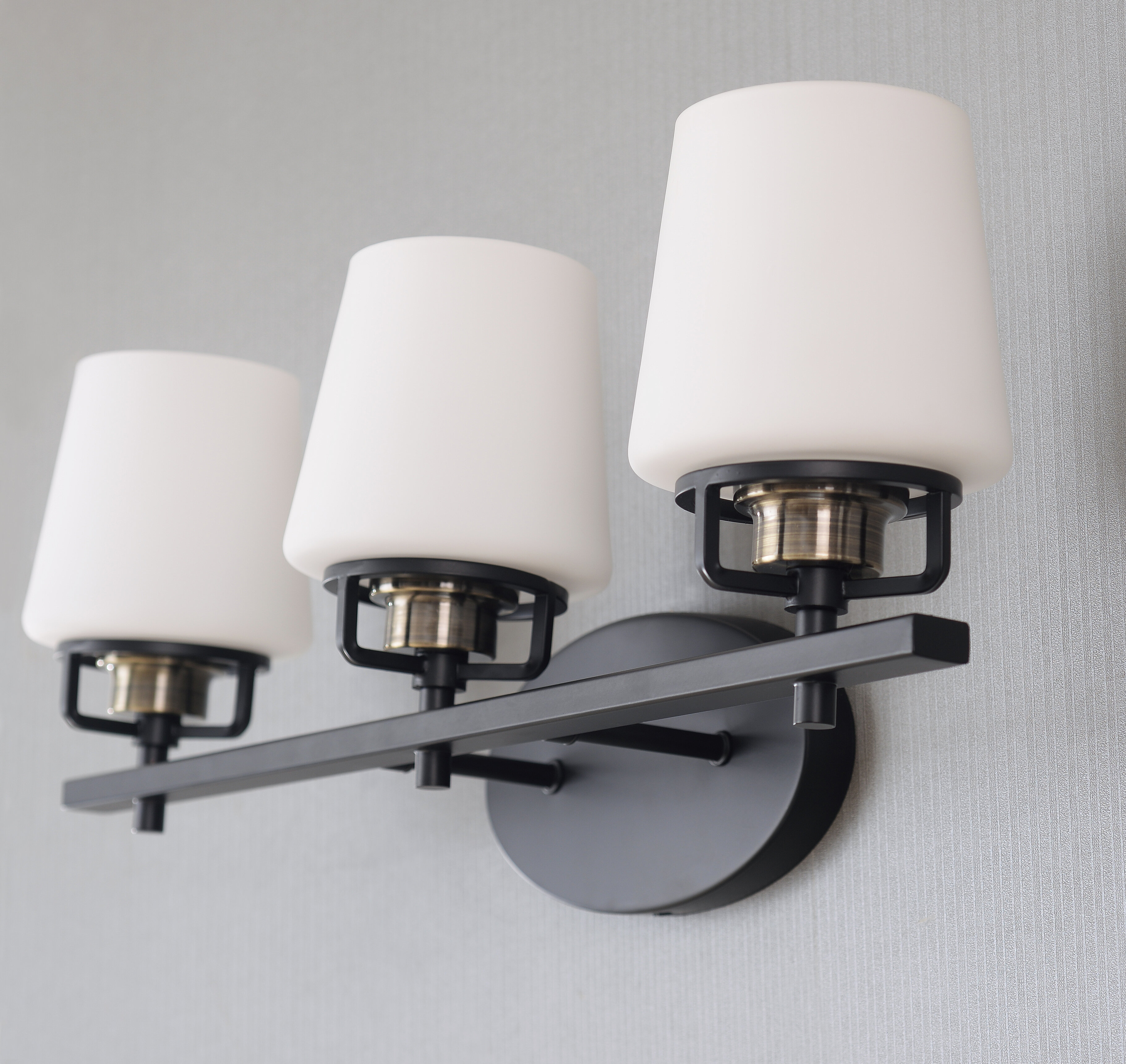 Wrought Studio Kristi 3 Light Dimmable Black Antique Brass Vanity Light Reviews Wayfair