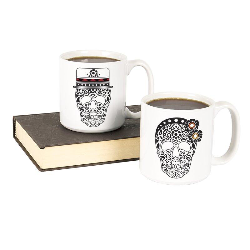 Myrick His And Hers Sugar Skull Large 2 Piece Coffee Mug Set