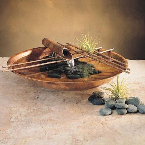 Charmant Metal Nature Bowl Small Tabletop Fountain