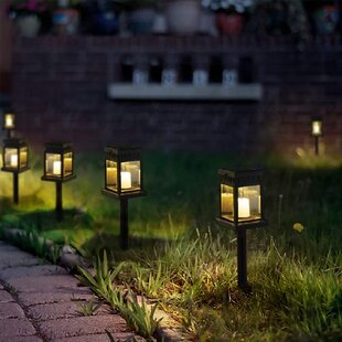 black low voltage solar powered pathway light pack set of 8