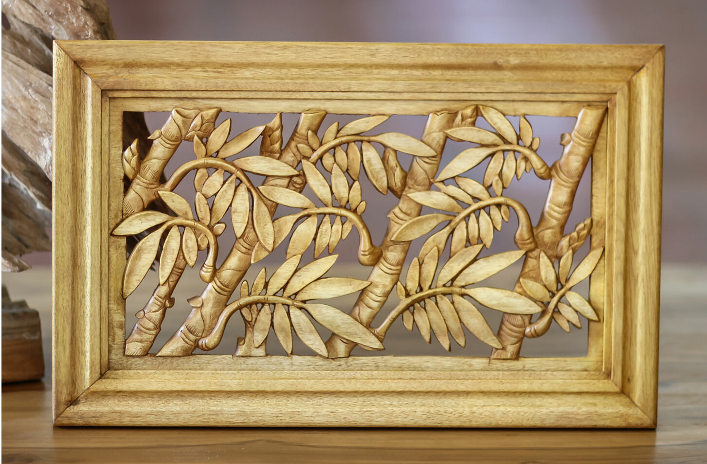 Novica Bamboo Thicket Wood Relief Panel Wall Décor | Wayfair