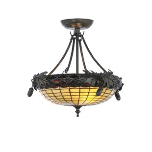 Meyda Tiffany Greenbriar Oak 3-Light Semi-Flush Mount