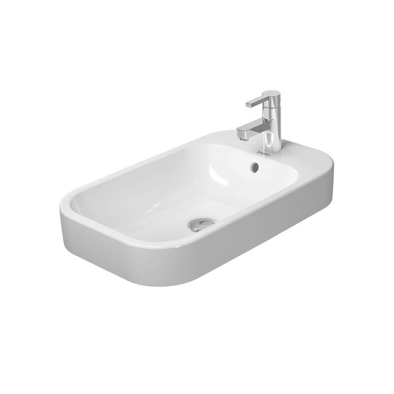 Duravit White Ceramic Rectangular Drop In Bathroom Sink With Overflow Wayfair