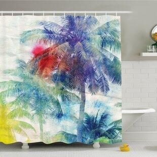 Buying Palm Tree Retro Watercolor Silhouettes of Palm Trees Stains on Picture Tropical Paradise Shower Curtain Set ByAmbesonne