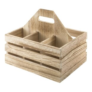 Azalee Carry-All Wood Crate Design Flatware Caddy