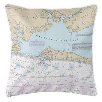 Breakwater Bay Nautical Chart Atlantic Nc Throw Pillow Wayfair
