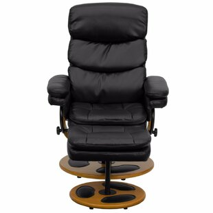 Swedesboro Leather Manual Swivel Recliner With Ottoman