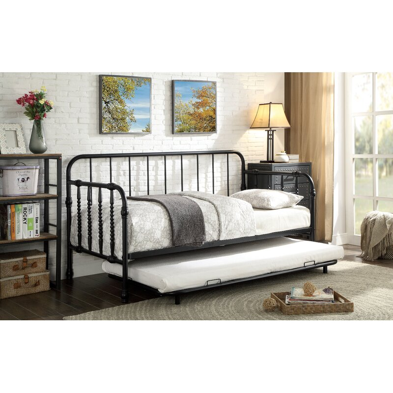 Canora Grey Reinhardt Industrial Twin Daybed With Trundle Wayfair