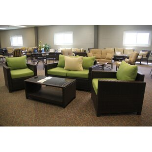 Jakarta 4 Piece Rattan Sofa Seating Group with Cushions