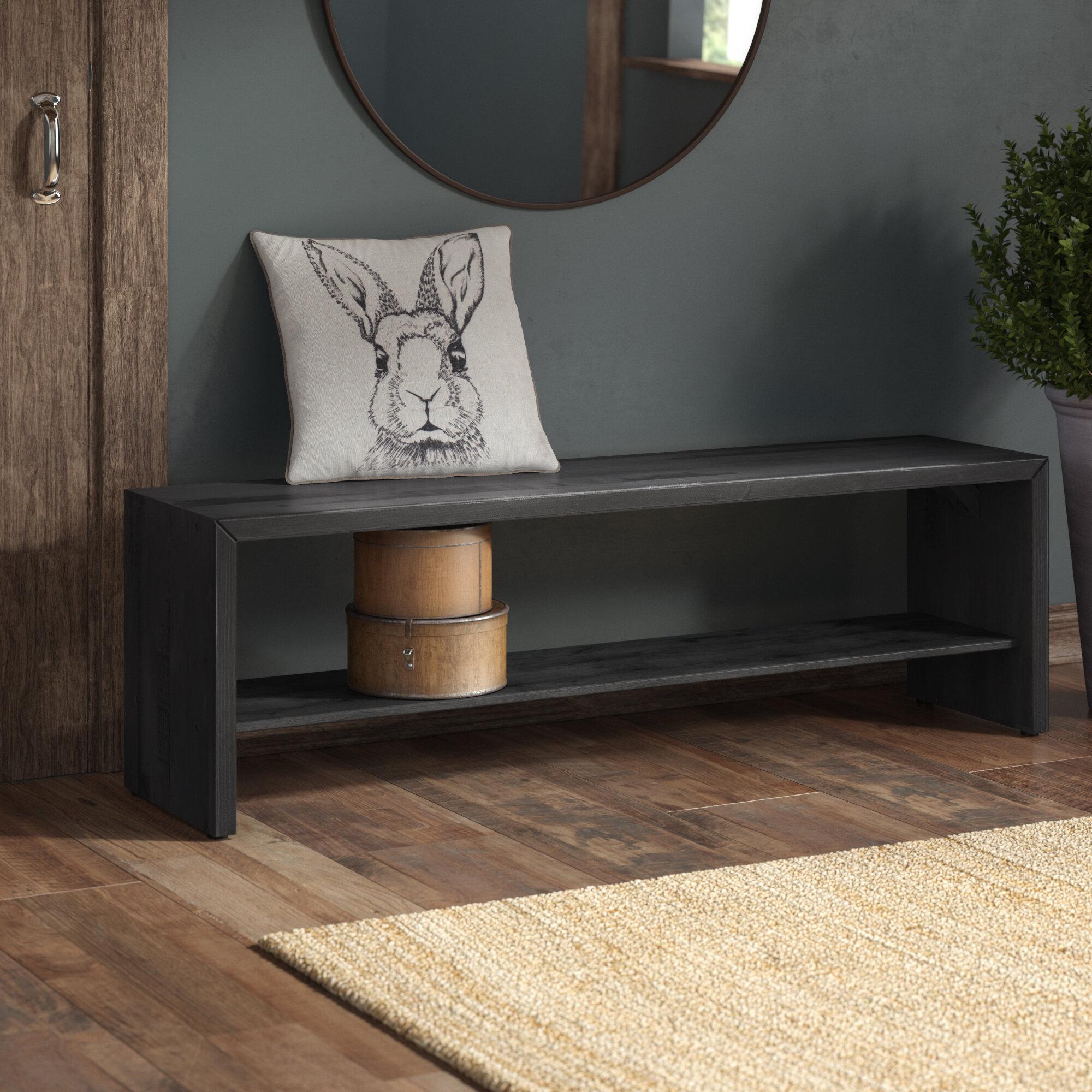 Loon Peak Arocho Rustic Solid Reclaimed Wood Storage Bench Reviews Wayfair