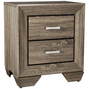 Shumway Transitional Style Wooden 2 Drawer Nightstand