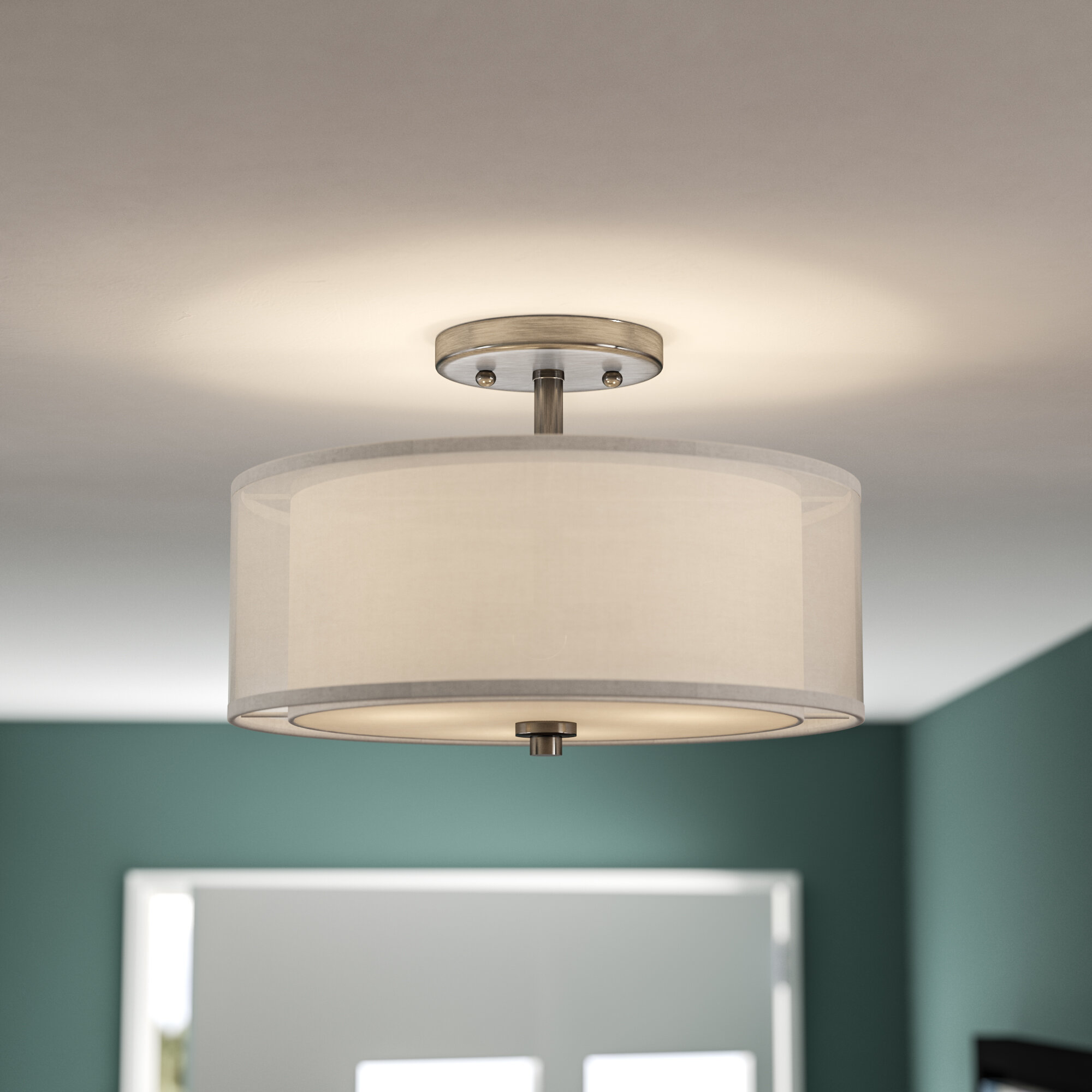 Mercury Row Bensenville 3 Light Drum Cylinder Semi Flush Mount Reviews Wayfair
