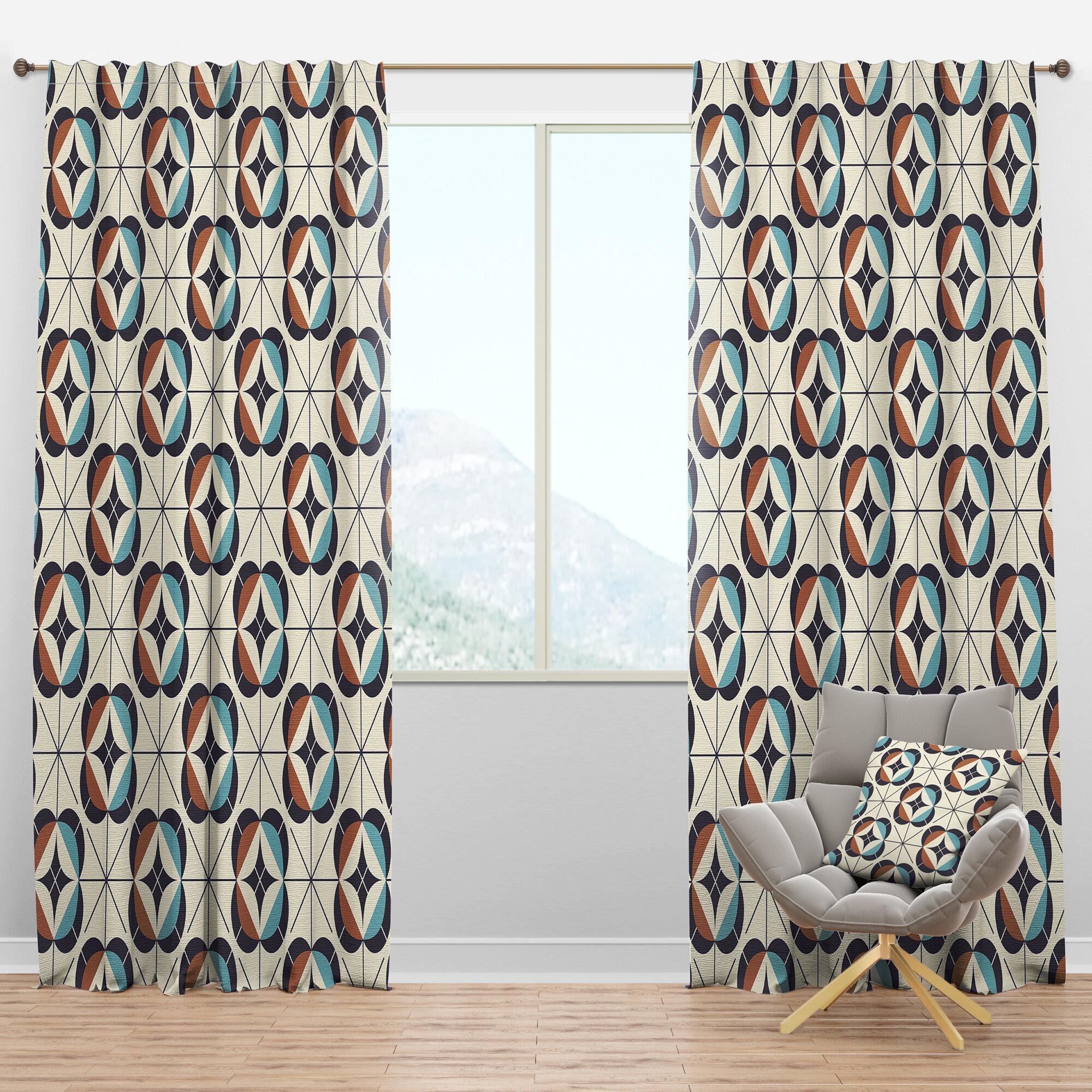 Designart Mid Century Design V Geometric Semi Sheer Thermal Rod Pocket Single Curtain Panels Wayfair