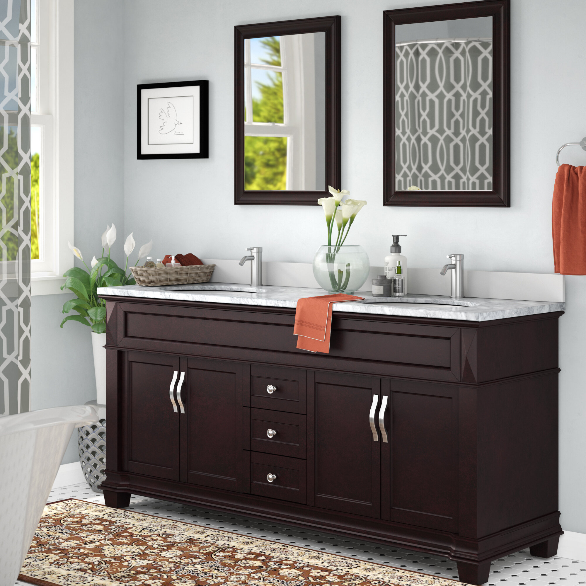 Darby Home Co Kace 72 Double Bathroom Vanity Set With White Marble