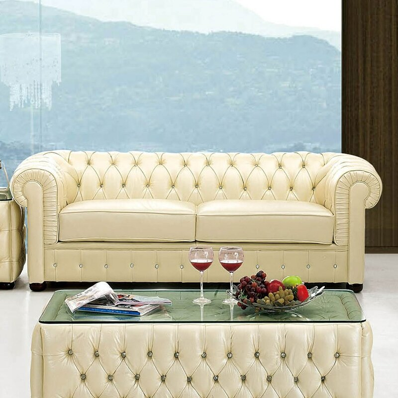 Medrano Leather Chesterfield Sofa