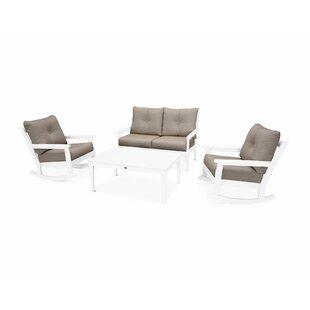 POLYWOOD® Vineyard 4 Piece Sofa Set with Sunbrella Cushions