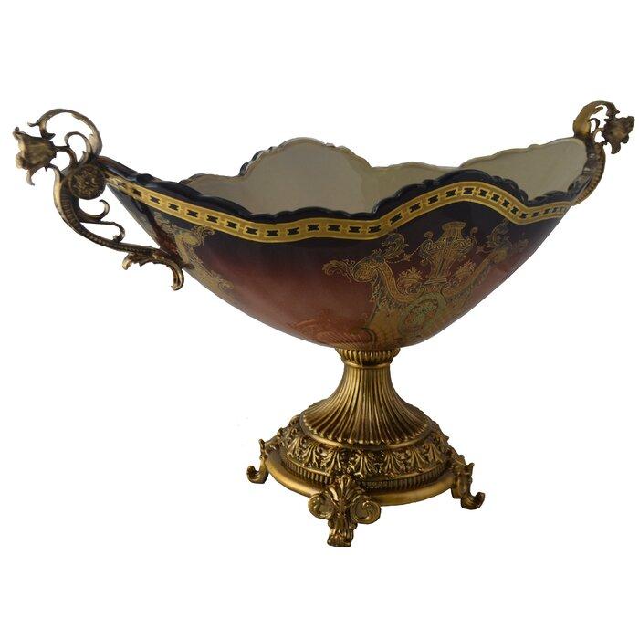 Lystra Oval Glass Centerpiece Decorative Bowl