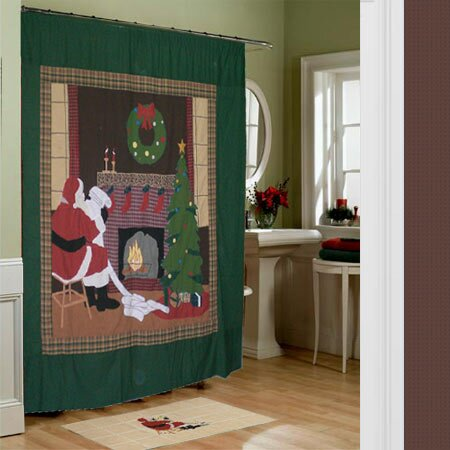 Santa by the Fireside Shower Curtain from Wayfair!