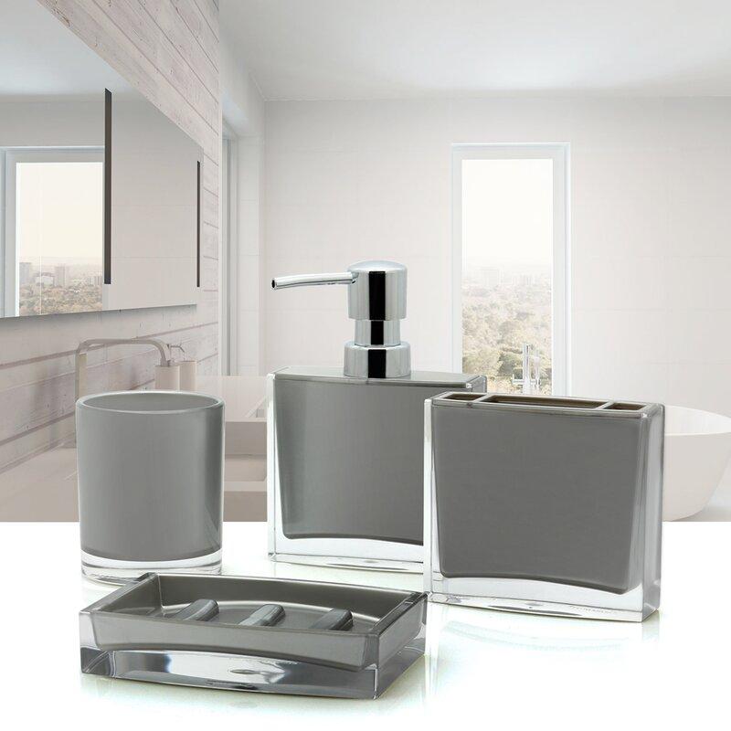 gray bathroom accessories set. Iced 4 Piece Bathroom Accessory Set Immanuel  Reviews Wayfair