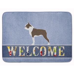Boston Terrier Welcome Memory Foam Bath Rug