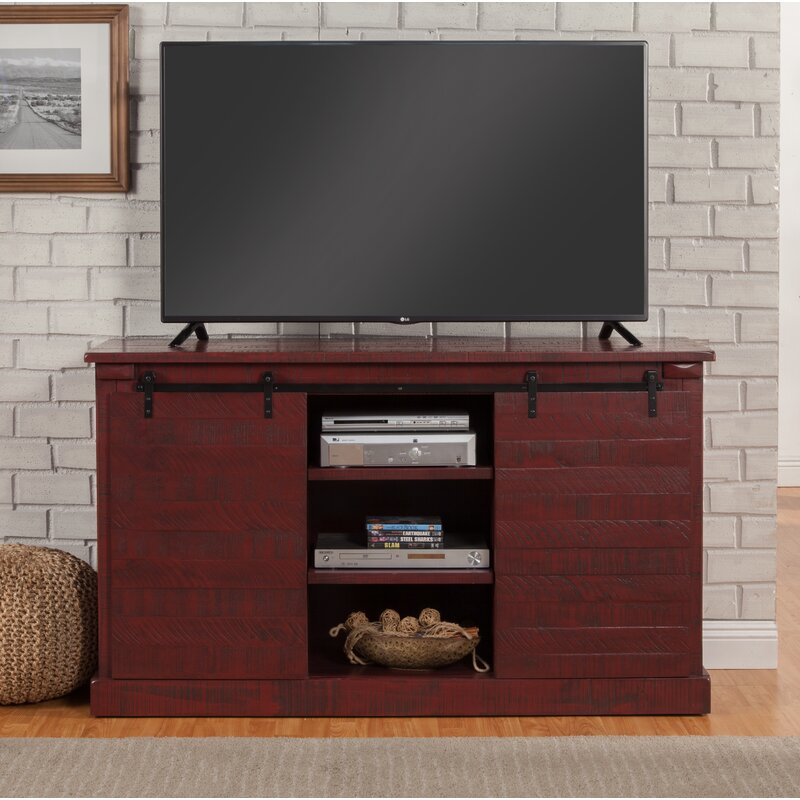 """17 Stories Benefield TV Stand for TVs up to 65""""  Color: Red"""