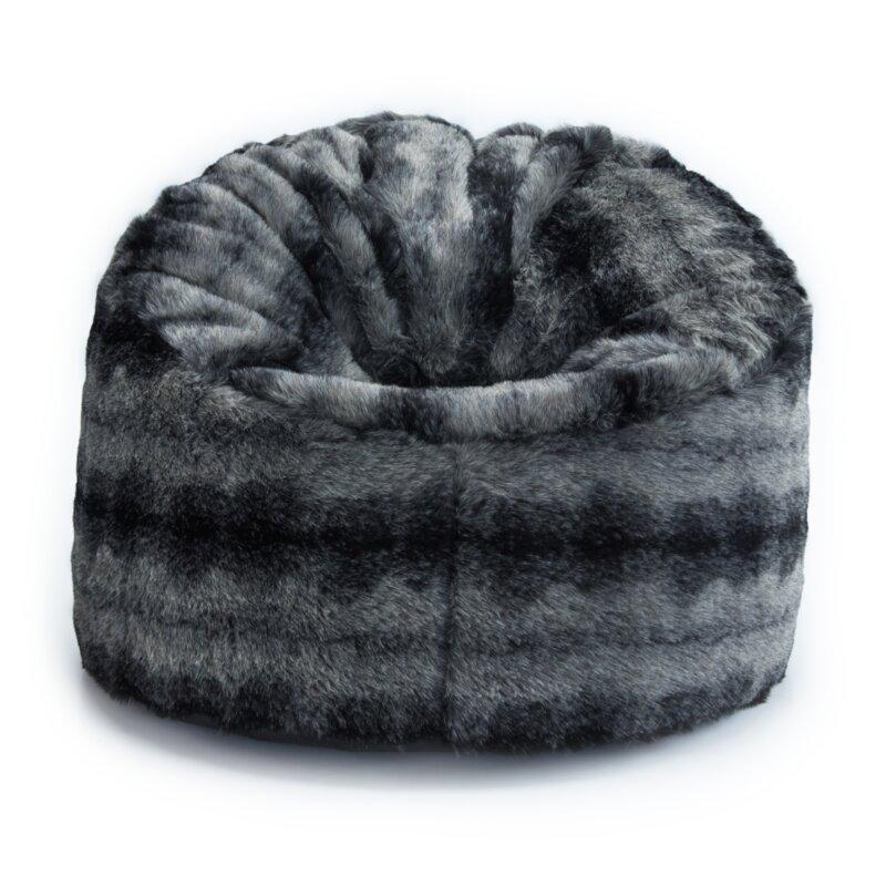 Luxury Wolf Arctic Faux Fur Bean Bag Extra Large Adult Bean Bag Chair Sofa Seat