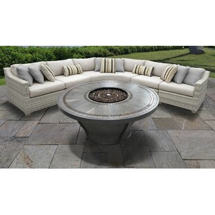 Fairmont 6 Piece Outdoor Sectional Seating Group Set with Cushions