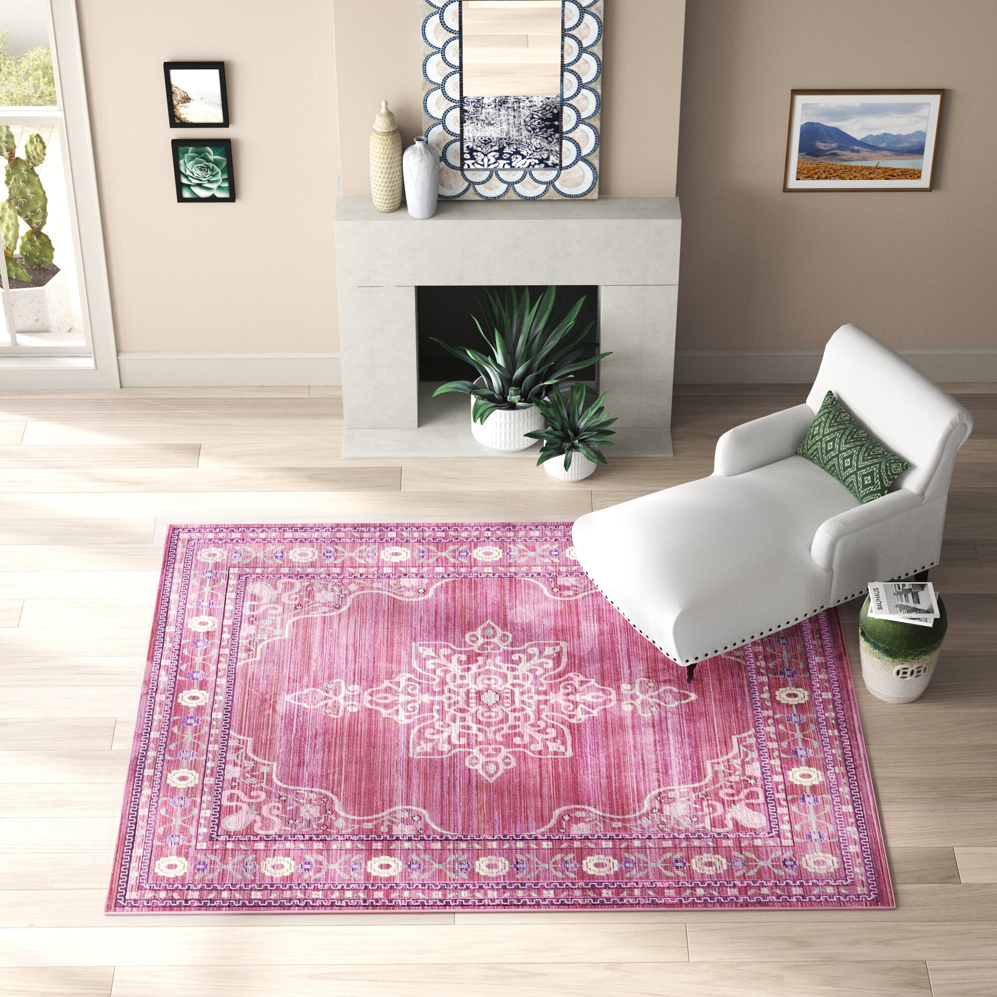 Mistana Baby Kids Bradford Oriental Pink Area Rug Reviews Wayfair