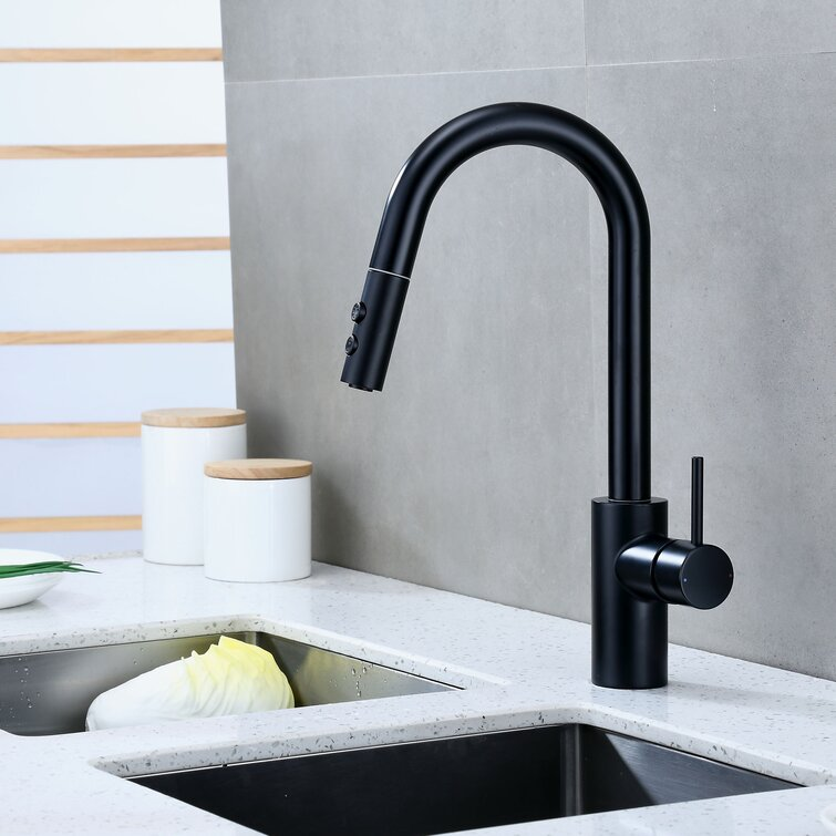 Luxier Contemporary Pull Down Single Handle Kitchen Faucet Reviews Wayfair