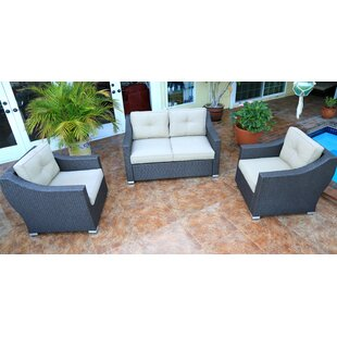 World Wide Wicker Tampa 3 Piece Small Sofa with cushions