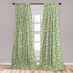 Ambesonne Green Curtains, Swirled Curly Abstract Leaves With Damask  Influences Ornate Vintage, Window Treatments 2 Panel Set For Living Room  Bedroom ...