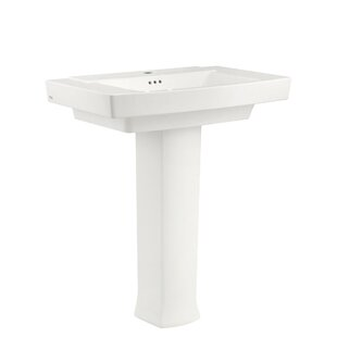 American Standard Town Square Rectangular Pedestal Bathroom Sink with Overflow