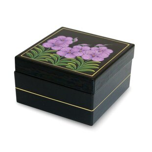 Compare prices Lacquered Vanda Orchid Wood Jewelry Box ByBloomsbury Market