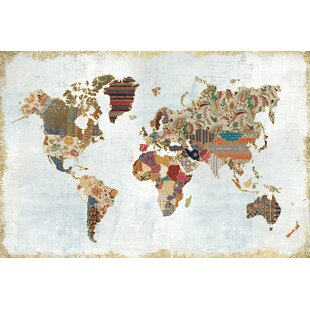World map push pin wayfair pattern world map graphic art on wrapped canvas gumiabroncs Images