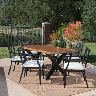 Woodburn Outdoor 7 Piece Dining Set with Cushions