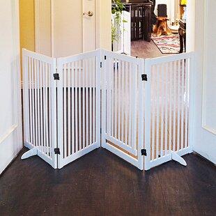 Babin Wood Freestanding Pet Gate With Small Door