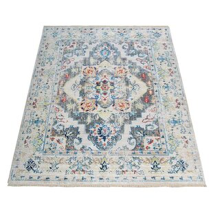 Best Reviews Mcmullan Oriental Aqua/White/Red Area Rug ByBungalow Rose