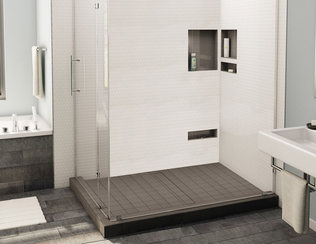 Double Threshold Shower Base With Center Trench Drain And Grate