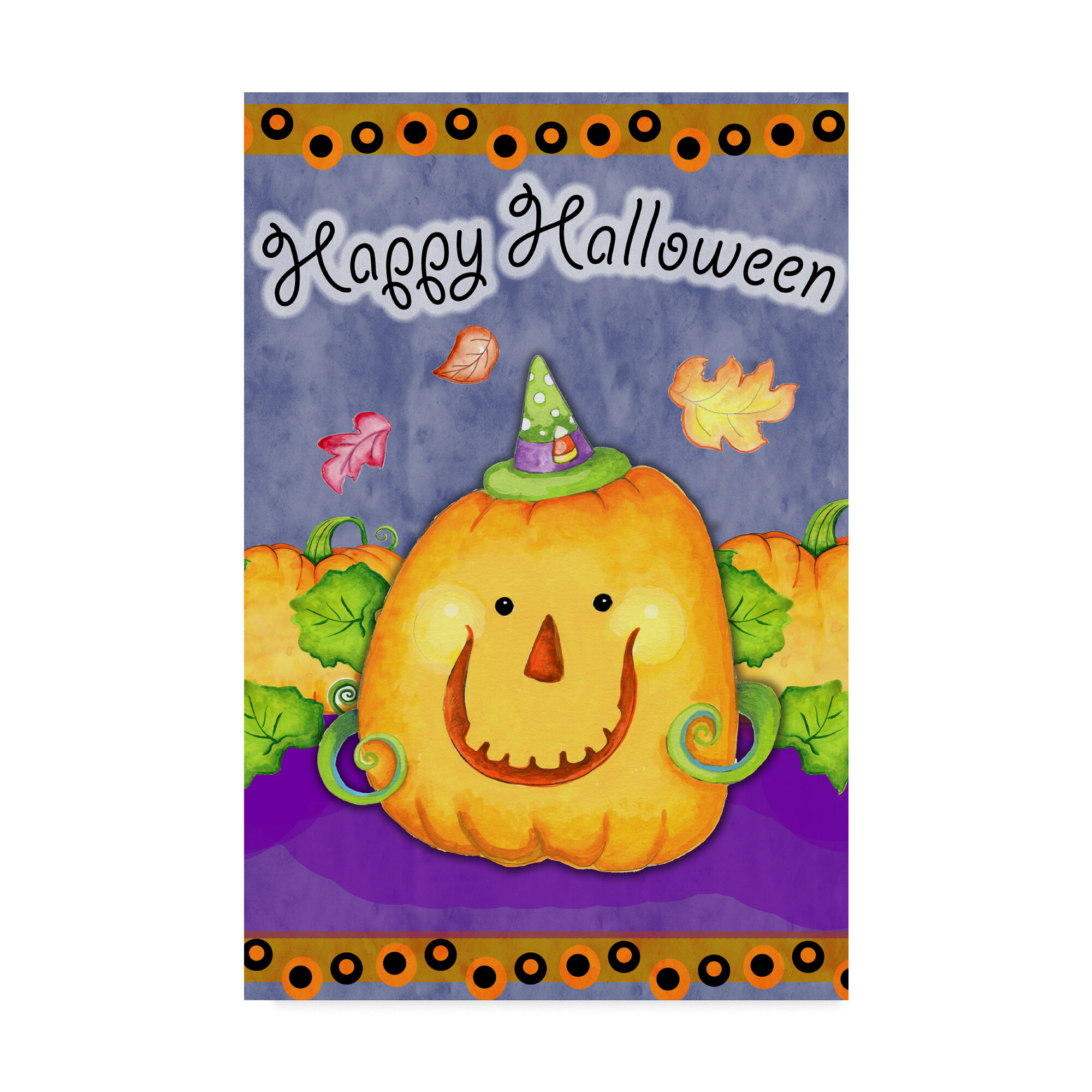 Trademark Art \'Happy Pumpkin\' Graphic Art Print on Wrapped Canvas ...