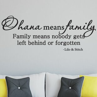 Lilo and Stitch Wall Decal Quote Dark Brown, 14h x22w Wall Decal Decor Ohana Means Family Means Nobody Get Left Behind or Forgotten Nursery Kids Bedroom Wall Decals