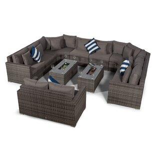 Villasenor Grey Rattan 8 Seat Sofa With 2 X Rectangle Ice Bucket Coffee Table & 2 Seat Sofa, Outdoor Patio Garden Furniture Image