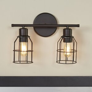 Bathroom Vanity Lights In Bronze oil rubbed bronze bathroom vanity lighting | wayfair