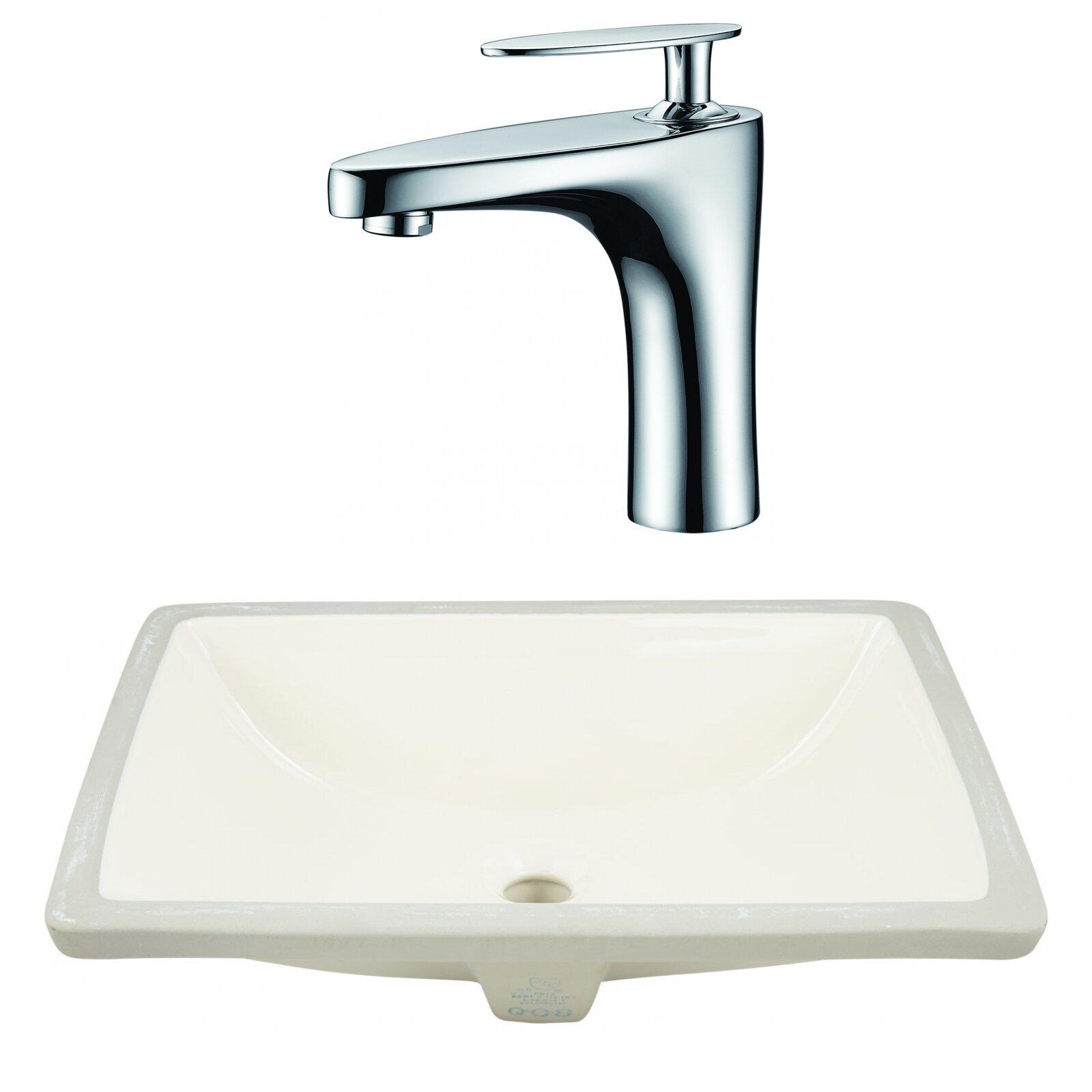 Royalpurplebathkitchen Csa Ceramic Rectangular Undermount Bathroom Sink With Faucet And Overflow Wayfair