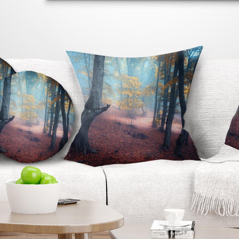 East Urban Home Landscape Mysterious Fairytale Wood Pillow Wayfair