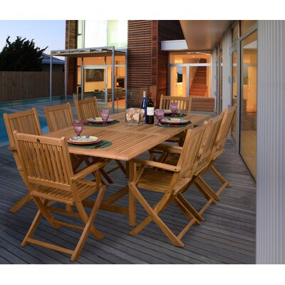 Espanola International Home Outdoor 9 Piece Teak Dining Set by Bayou Breeze Best Choices