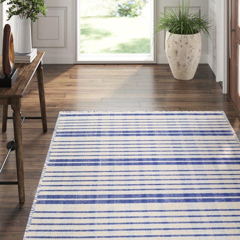 Dash And Albert Rugs Guilford Plaid Handmade Flatweave Cotton Blue Beige Area Rug Perigold