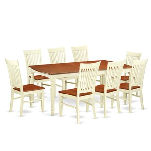 Pimentel 9 Piece Extendable Solid Wood Dining Set August Grove