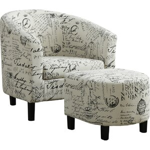 Vintage French Barrel Chair and Ottoman by Monarch Specialties Inc.