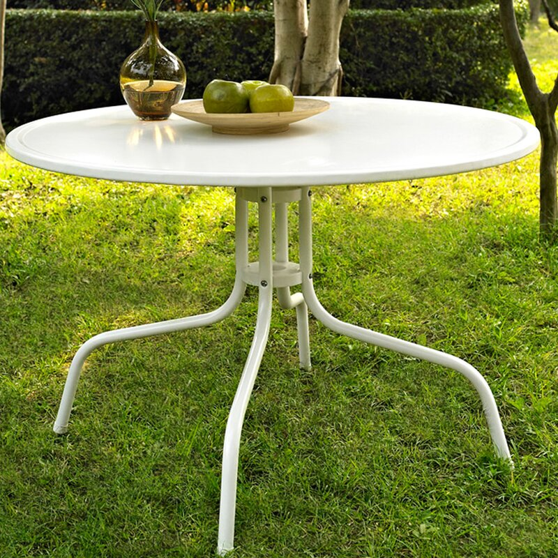 Mercury Row Timothea Metal Dining Table in White Reviews Wayfair